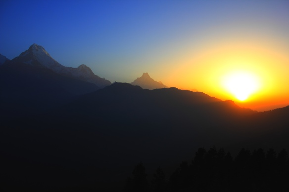 Amazing sun rise from the Annapurna mountains