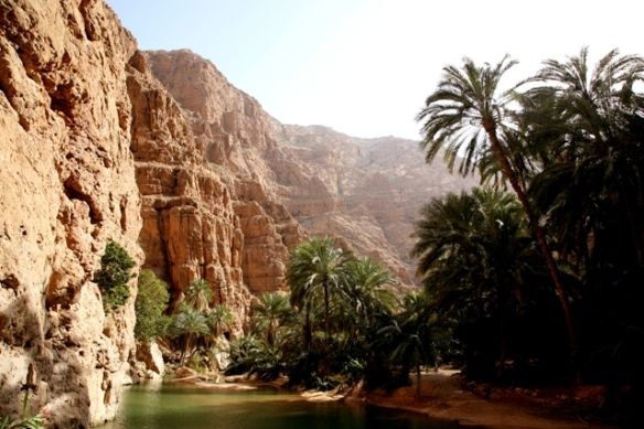 The amazing road of Wadi Shab, which combines an alternation of hiking and swimming in clear blue pools...