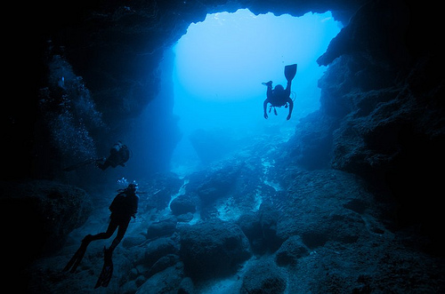 Diving in one of Oman's caves