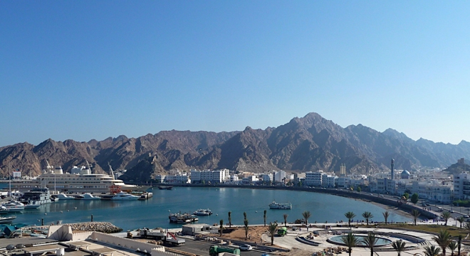 Muyrah Corniche - the main port of Muscat, where mountains meet the sea.