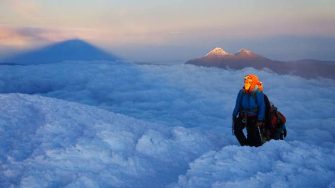 Climbing Cotopaxi volcano - somewhere above the clouds