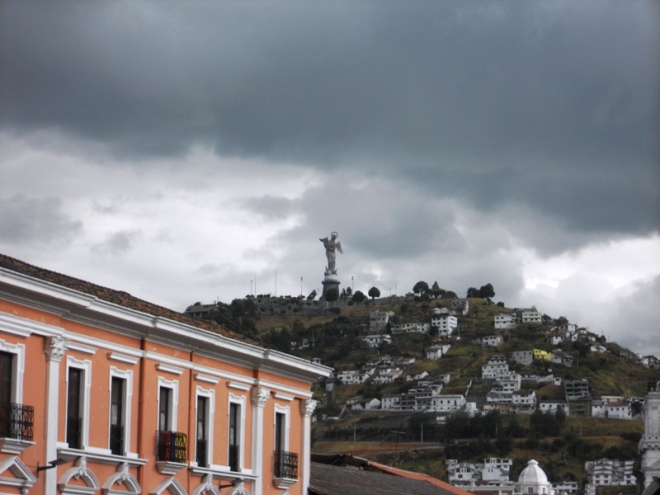 View of El Panecillo and the winged Virgin Mary statue